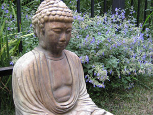 Buddha sculpture sitting in garden